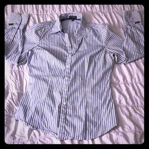 Express Essential Stretch button up blouse